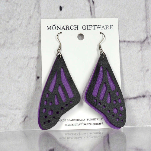 Butterfly Vegan Leather Earrings (purple)