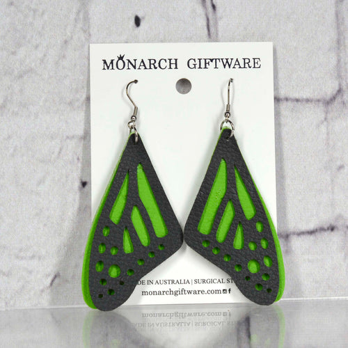 Butterfly Vegan Leather Earrings (green)