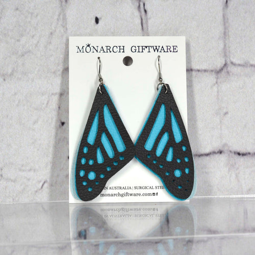 Butterfly Vegan Leather Earrings (blue)