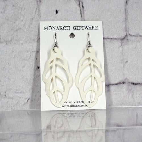 Autumn Leaf Vegan Leather Earrings (white)