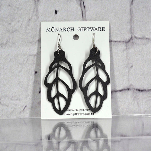 Autumn Leaf Vegan Leather Earrings (black)