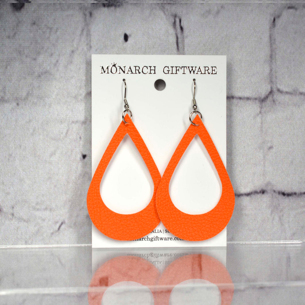 Large Hollow Vegan Leather Teardrop Pop Earrings (orange)