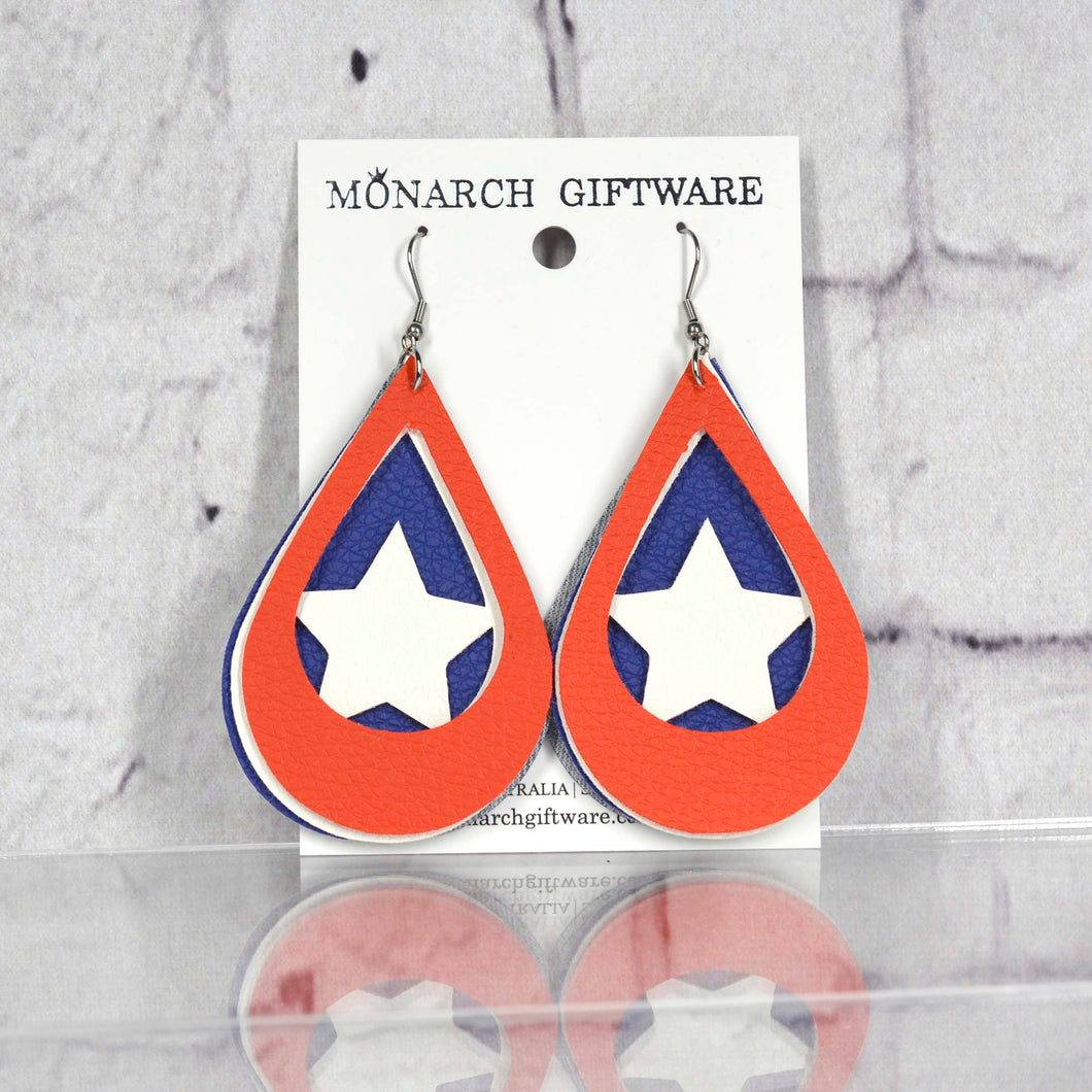 Americana Vegan Leather Earrings