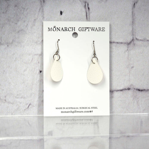 Small Vegan Leather Teardrop Pop Earrings (white)