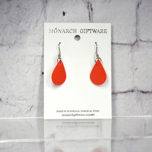 Small Vegan Leather Teardrop Pop Earrings (red)