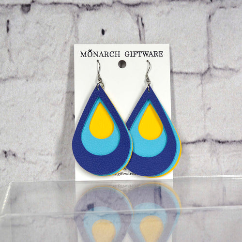 Teardrop Layered Vegan Leather Earrings (yellow/light blue/navy)