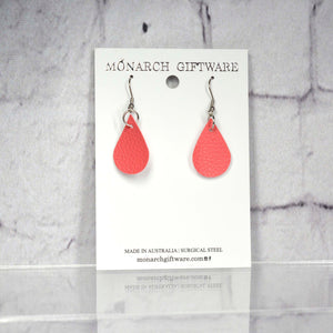 Small Vegan Leather Teardrop Pop Earrings (pink)