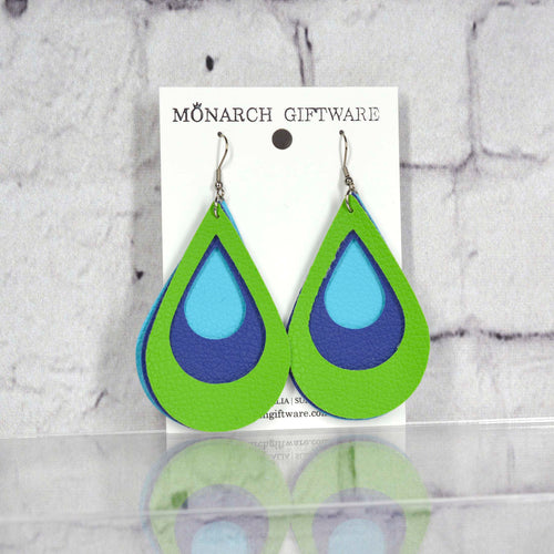 Teardrop Layered Vegan Leather Earrings (light blue/navy/green)