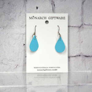 Small Vegan Leather Teardrop Pop Earrings (light blue)