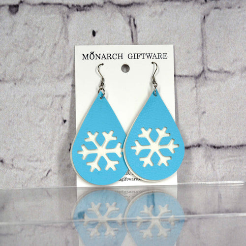Snowflake Vegan Leather Earrings (white/light blue)