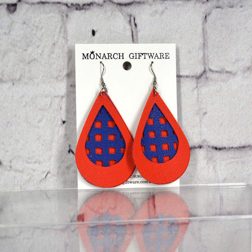 Teardrop Gingam Vegan Leather Earrings