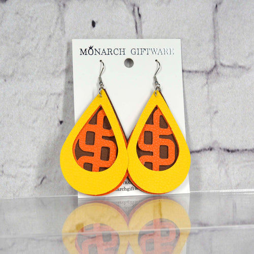 Teardrop Geometric Retangle Vegan Leather Earrings