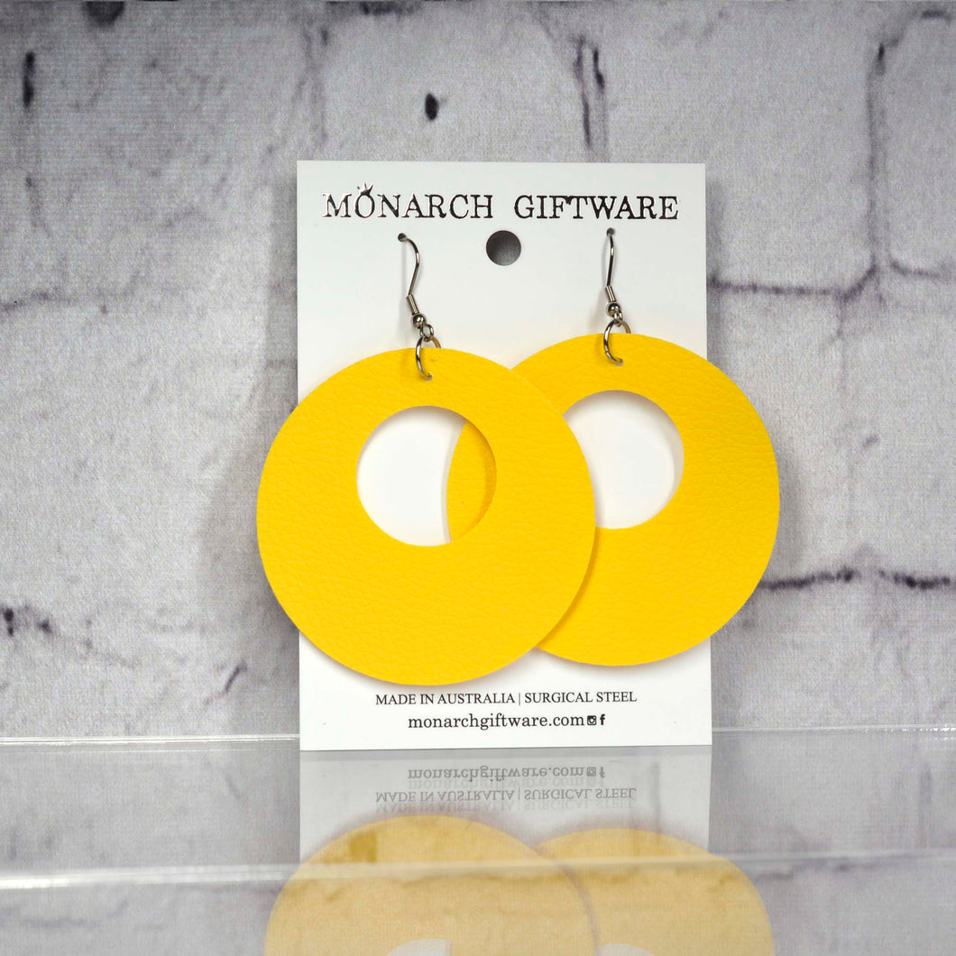Small Hollow Vegan Leather Round Pop Earrings (yellow)