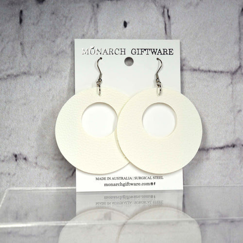 Small Hollow Vegan Leather Round Pop Earrings (white)