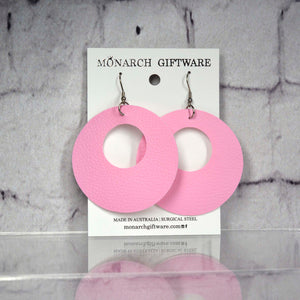 Small Hollow Vegan Leather Round Pop Earrings (sorbet pink)