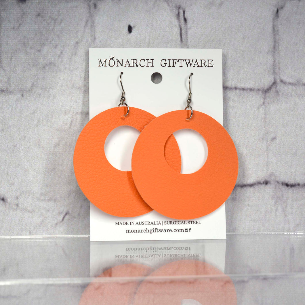 Small Hollow Vegan Leather Round Pop Earrings (orange)