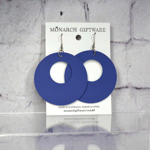 Small Hollow Vegan Leather Round Pop Earrings (navy)