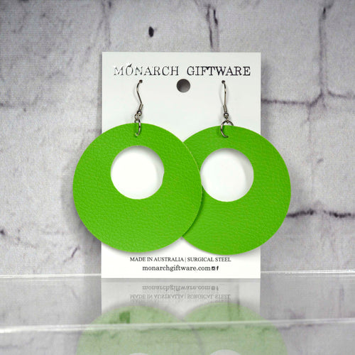 Small Hollow Vegan Leather Round Pop Earrings (green)