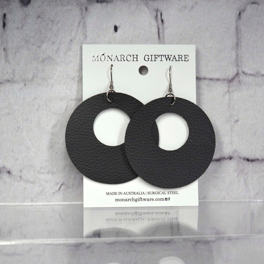 Small Hollow Vegan Leather Round Pop Earrings (black)