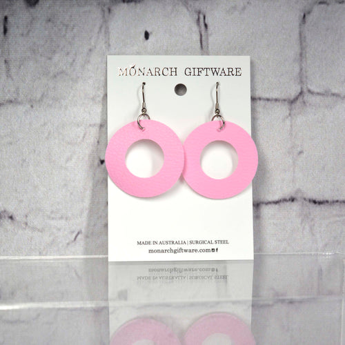Medium Hollow Vegan Leather Round Pop Earrings (sorbet pink)