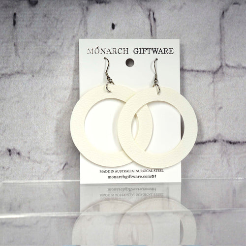 Large Hollow Vegan Leather Round Pop Earrings (white)
