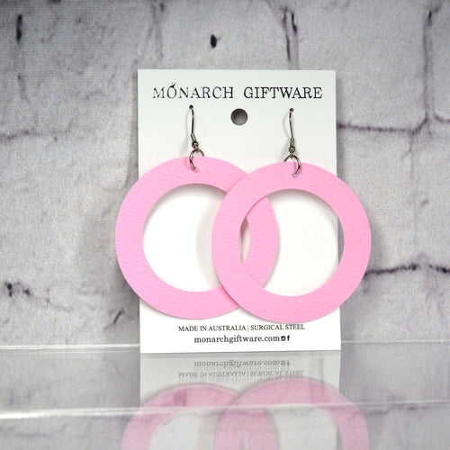 Large Hollow Vegan Leather Round Pop Earrings (sorbet pink)