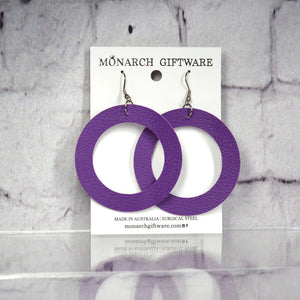 Large Hollow Vegan Leather Round Pop Earrings (purple)