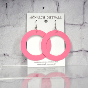 Large Hollow Vegan Leather Round Pop Earrings (pink)