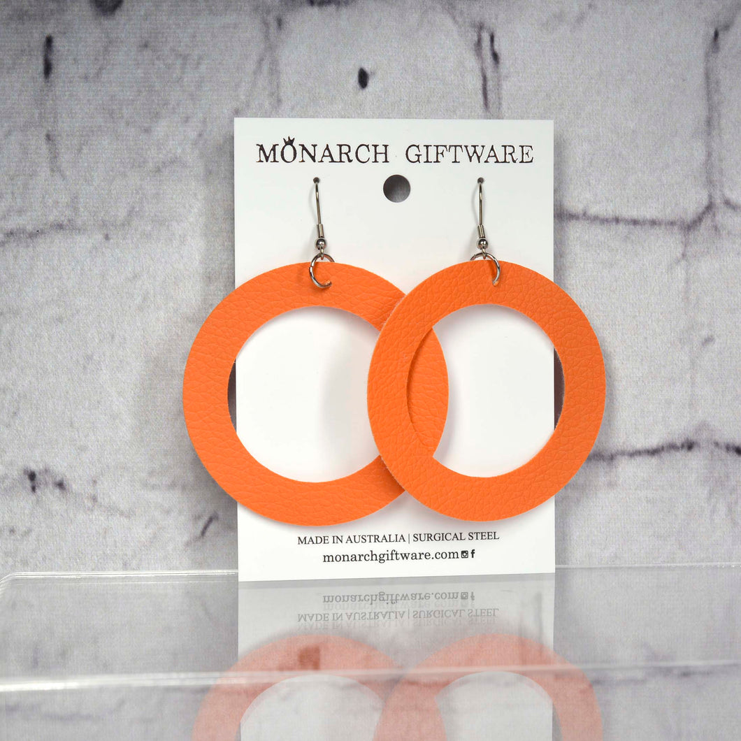 Large Hollow Vegan Leather Round Pop Earrings (orange)