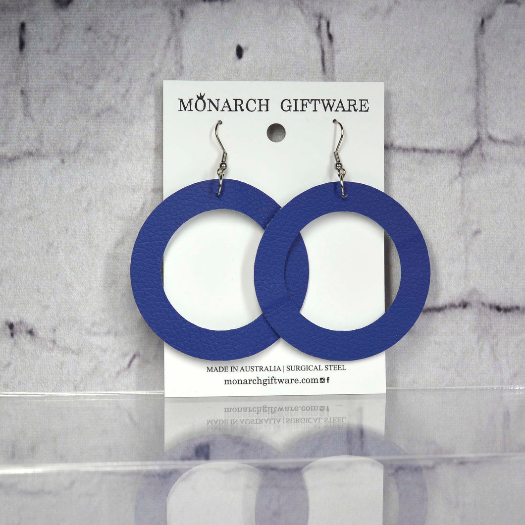 Large Hollow Vegan Leather Round Pop Earrings (navy)