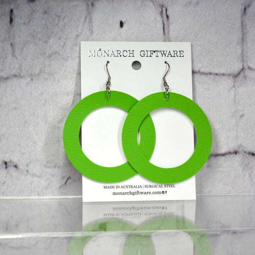 Large Hollow Vegan Leather Round Pop Earrings (green)