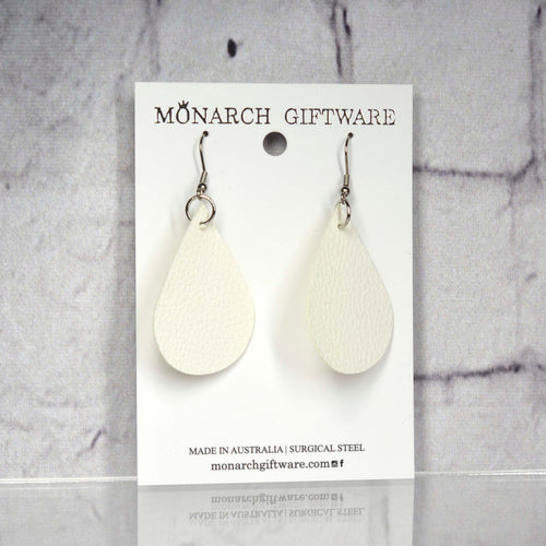 Medium Vegan Leather Teardrop Pop Earrings (white)