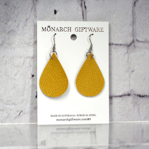 Medium Vegan Leather Teardrop Pop Earrings (gold)