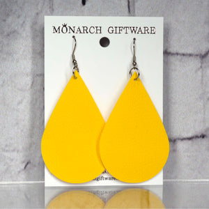 Large Vegan Leather Teardrop Pop Earrings (yellow)