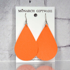 Large Vegan Leather Teardrop Pop Earrings (orange)
