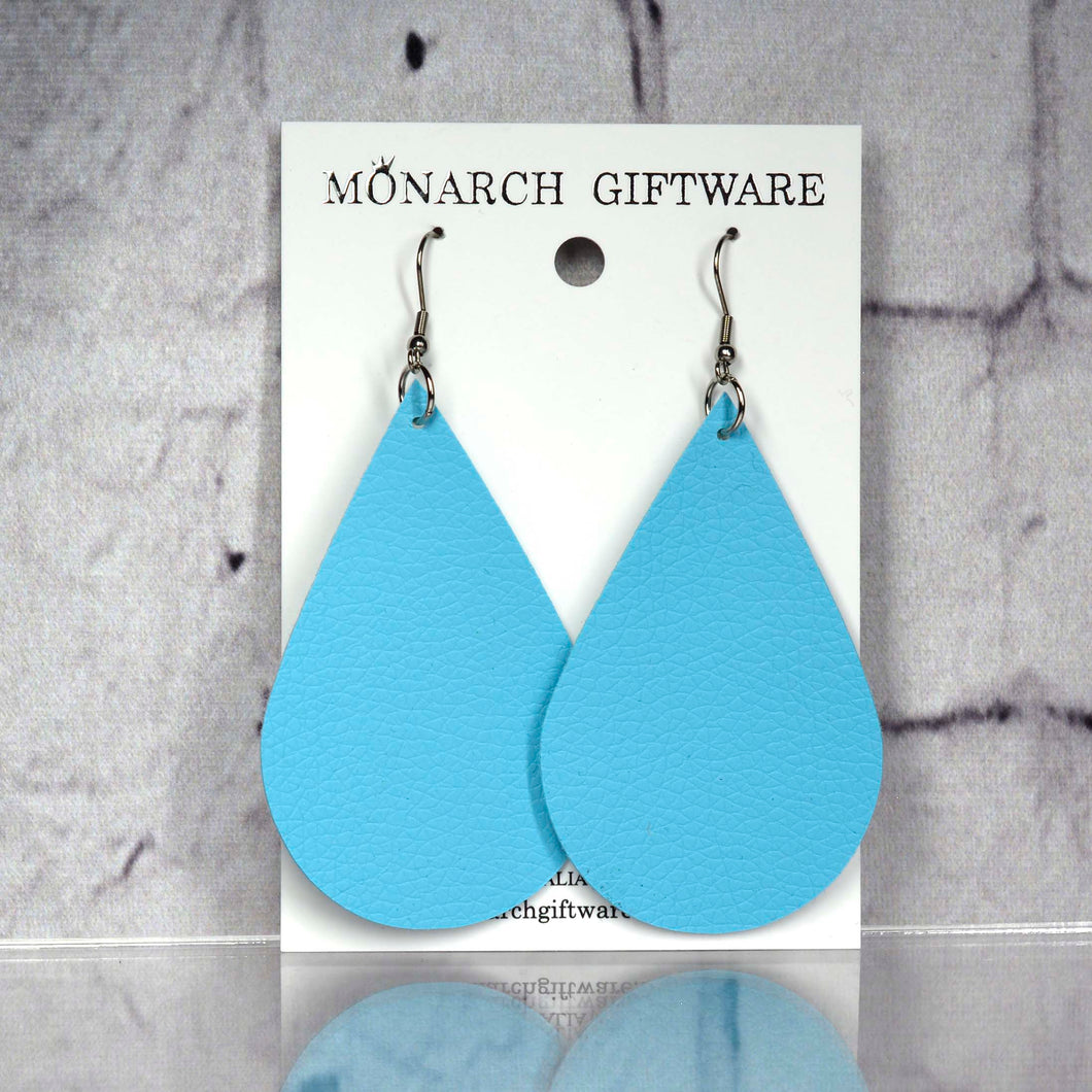 Large Vegan Leather Teardrop Pop Earrings (light blue)