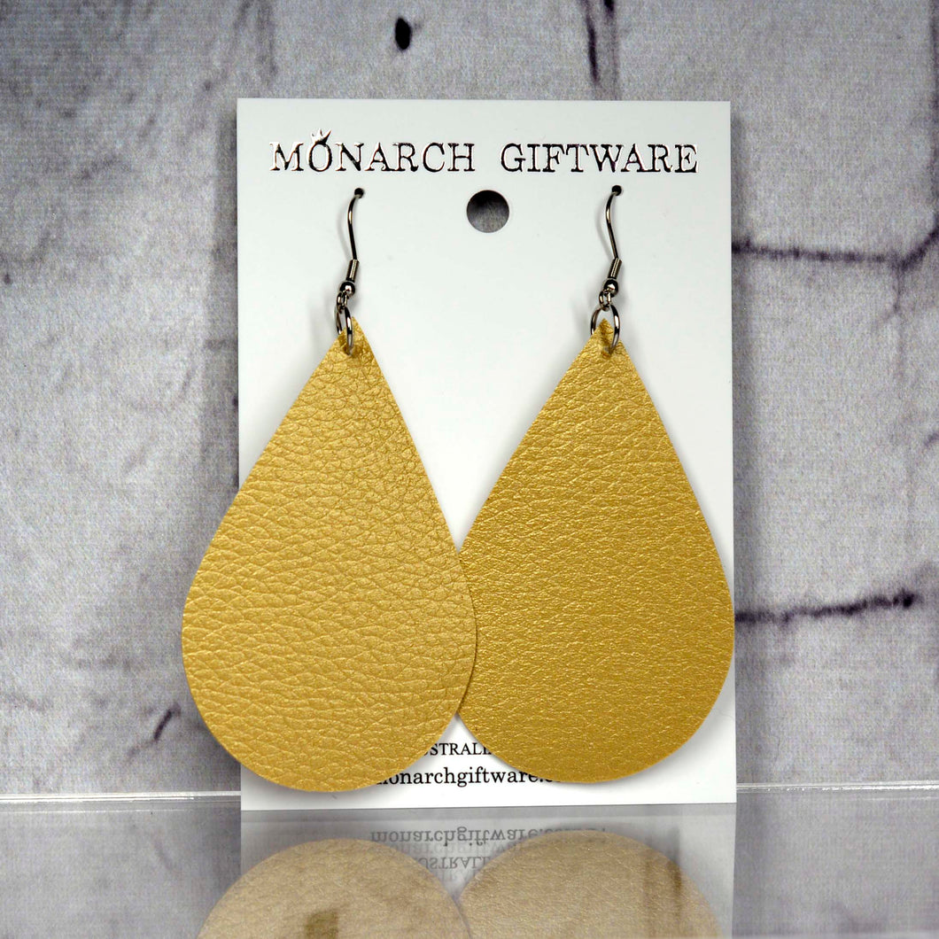 Large Vegan Leather Teardrop Pop Earrings (gold)
