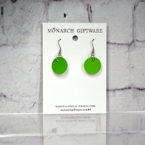 Small Vegan Leather Round Pop Earrings (green)