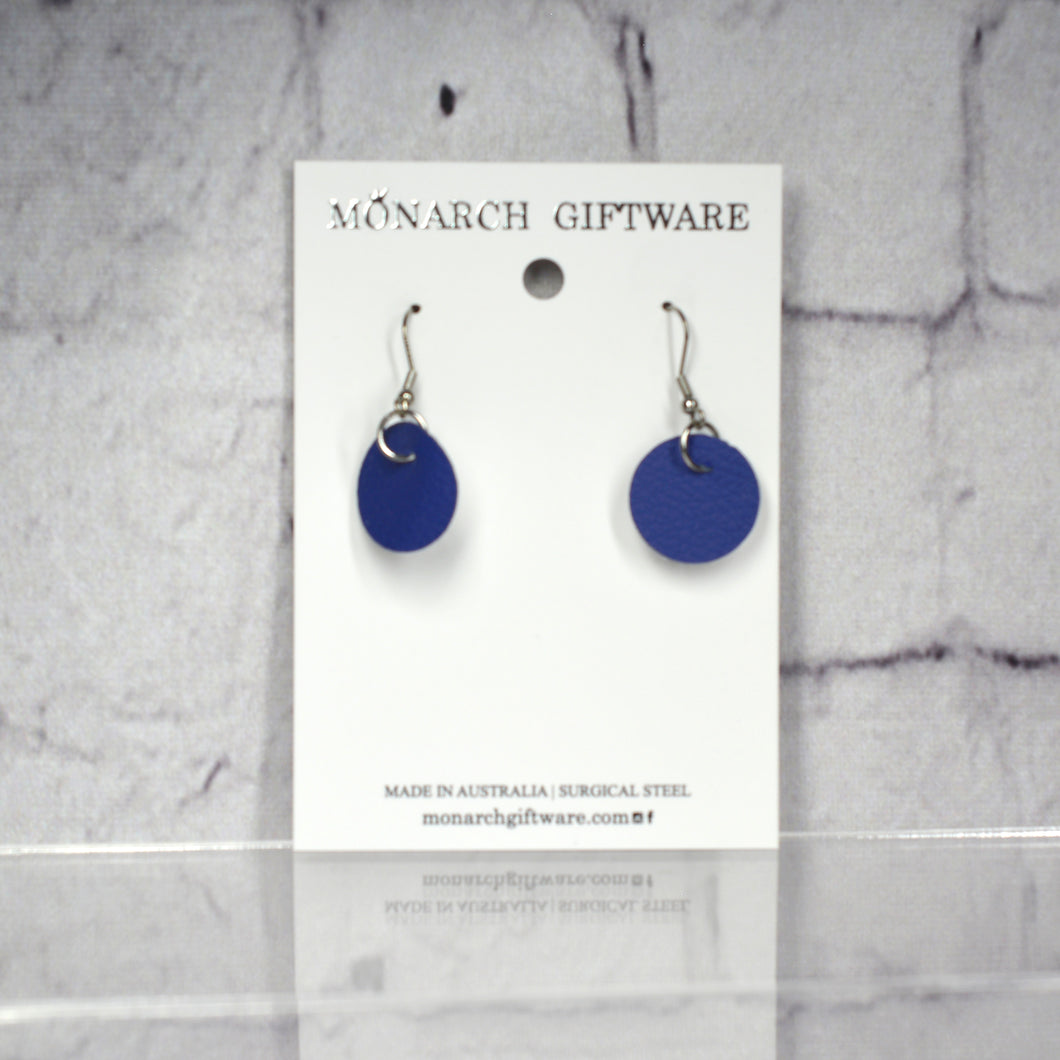 Small Vegan Leather Round Pop Earrings (navy)
