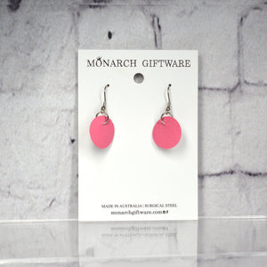 Small Vegan Leather Round Pop Earrings (pink)