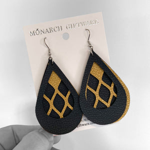 Black & Gold Vegan Leather 3 Layer Teardrop Earrings (netting)