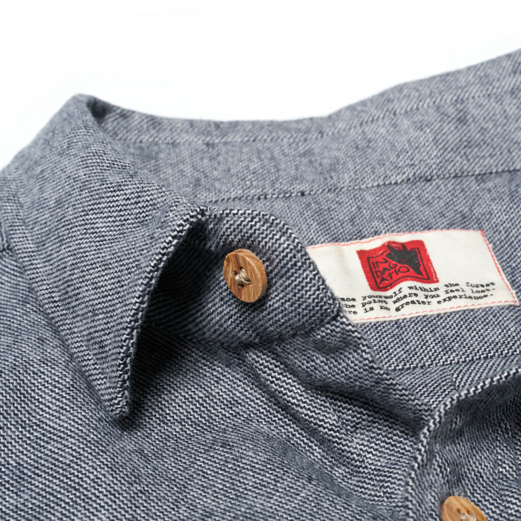 Grey flannel shirt Aquila chrysaetos. Natural wood buttons. Welcome to the wolfpack.