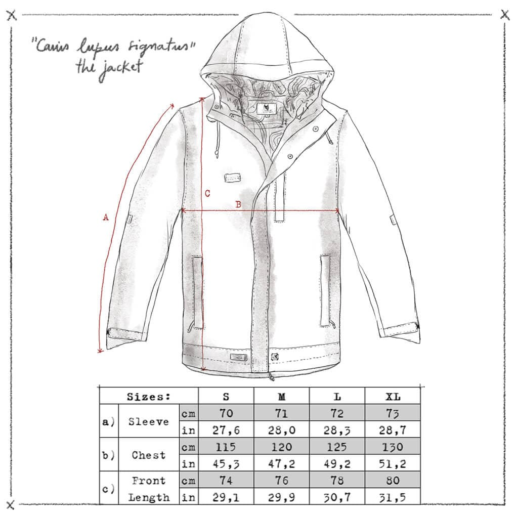 Jacket Canis lupus signatus 3L waterproof. Size chart. Welcome to the wolfpack.