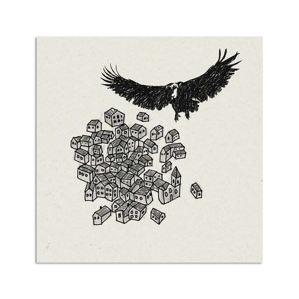 The vulture in the village illustration art print | Indagatio