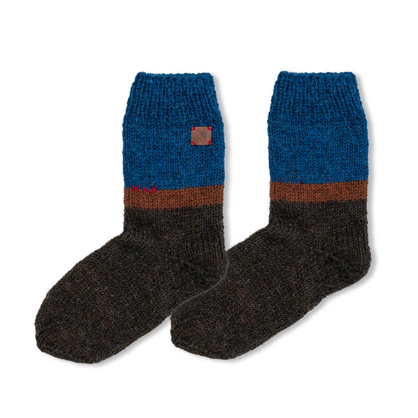 Brown Thalassarche melanophris handmade wool socks