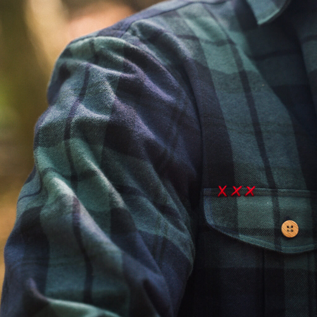 Green checks flannel shirt jacket Vulpes vulpes. Handmade cross stitch. Welcome to the wolf pack.