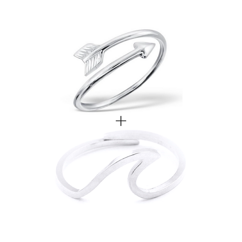 Arrow & Wave ring bundle set
