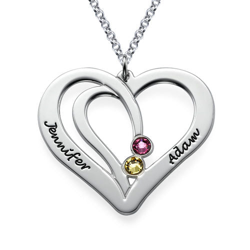 Engraved Couples Birthstone Necklace in Sterling Silver
