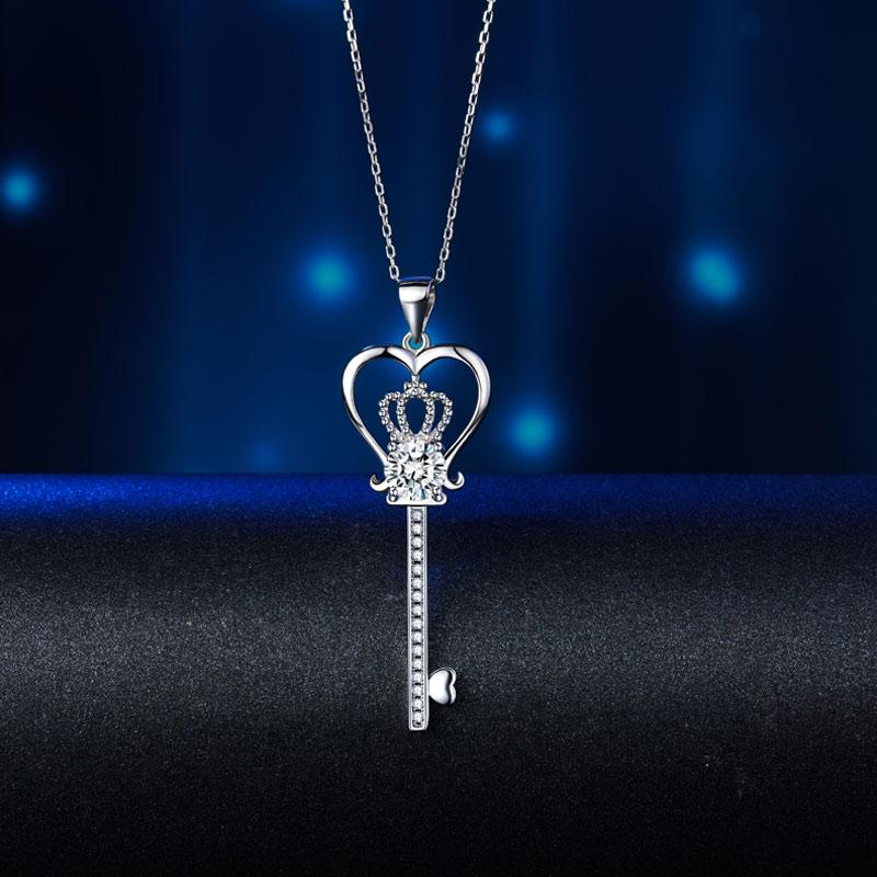 Love Heart Crown Key Necklace