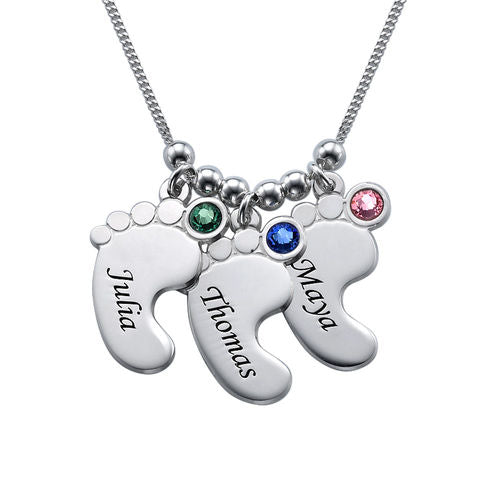 Mom Jewelry - Baby Feet Necklace in Sterling Silver 3 Child